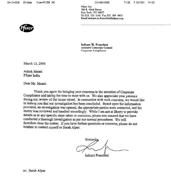 Pfizer reply