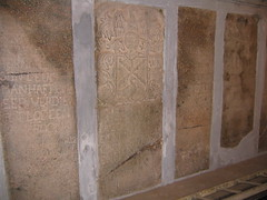 Amazing stone tablets in entryway of St. Francis (RossM) Tags: india theworld cochinindia