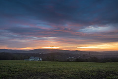 Old, New, Borrowed, Blue (Chris M Lawrence) Tags: sunrise beddau cwm industry landscape wales valleys colliery farms clouds