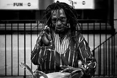 Drumming Fun (Foto John) Tags: leicam240 leicam leica leicamtyp240 rangefinder summicronm50mmƒ2iv blackwhite blackandwhite blackandwhitethatsright monochrome streetphotography drummer alex man london uk