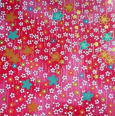 Yuzen washi 187 (tengds) Tags: handmadepaper japanesepaper yuzenwashi washi chiyogami red white gold blue pink flowers tengds