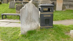 2015-03-21 16:03:07 Life is Disposable, Bakewell (MedEighty) Tags: 2015 march uk england derbyshiredales derbyshire bakewell town small spring allsaints church allsaintschurch grave gravestone bin trash garbage trashcan rubbish disposable finaldestination medeighty sign litter