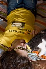 Day 102: No Pictures Please... (Angela.) Tags: selfportrait digital cat canon rebel raw tshirt mini canonef35mmf2 dslr angela tee spacegirl 365days xti 400d canondigitalrebelxti