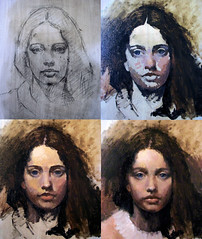charcoal sketch to oil painting (deflam) Tags: portrait girl painting sketch study charcoal oil learning progression oilpainting