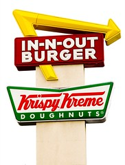 In-n-Out Burger and Krispy Kreme (Thomas Hawk) Tags: california usa white sign unitedstates 10 burger unitedstatesofamerica large fav20 krispykreme hamburgers westlake donuts hamburger arrow through written dalycity winged fav30 southbay doughnuts rectangle krispy innoutburger innout kreme angled containing fav10 fav25 superfave sothisisamerica