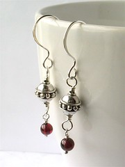 Bali silver & garnet earrings
