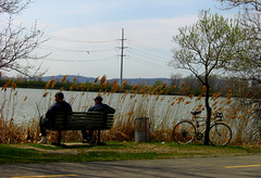 Une pause bien mrite -  A Well Deserved Rest (Denyse Bchard) Tags: canada water bike bicycle river bench eau brossard qubec pause bicyclette banc vlo southshore 2007 montrgie bicyclepath fleuve stlawrenceriver pistecyclable rivesud fleuvesaintlaurent cyclistes denysebchard