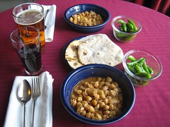 Moghlai Chanay,  sugar snow peas with cumin and thyme, and chapatis