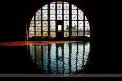 Ellis Island (Seven Seconds Before Sunrise) Tags: door nyc newyorkcity newyork reflection window silhouette museum newjersey jerseycity unitedstates ellisisland