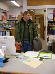 Dad Behind The Desk (meliroo) Tags: dad schoollibrary kingamigos