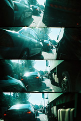 2 seconds beside a lorry. (cafolla) Tags: ireland dublin film lomo xpro lomography supersampler track kodak fort crossprocess fixie messenger handlebars brakeless biycle crossprocesing 2seconds fixedwheel kodakelite cameramountedonhandlebars cameratapedontohandlebars dublinmessenger