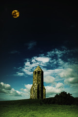 Pepperpot - Isle of Wight (St Catherine's lighthouse) (s0ulsurfing) Tags: uk blue light sky cloud moon lighthouse brick green art stone clouds composition photoshop manip