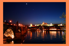 Reflections, Moon and a Star in Prague (! .  Angela Lobefaro . !) Tags: trip travel bridge sunset vacation sky moon building castle cars water girl topv111 night clouds river subway interestingness topv333 bravo venus czech prague quality gimp himmel prag praha praga topv222 explore nubes linux czechrepublic 200views charlesbridge frontpage ubuntu coolest idyllic vltava topf15 allrightsreserved italians 2007 outstanding kubuntu topf20 1025faves topf30 digikam 30faves x500 magicdonkey someonelovesthisshot 20faves karlbridge i500 cesvi bestphotosonflickr abigfave bestpicturesonflickr holidaysvacanzeurlaub angiereal goldenphotographer 1outof1000 theunforgettablepictures 1outof500 noqualitynocry maxgreco angelalobefaro angelamlobefaro wwwcesviorg angelamarialobefaro massimilianogreco