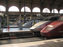 Gare Du Nord TGVs (brunoboris) Tags: paris france station child gare eurostar platform trains trainstation garedunord hsr tgv bullettrain thalys highspeedtrain highspeedrail warningstrip victoriantrainstation