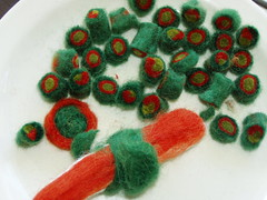 felted beads and sushi