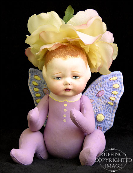 Rosa the Flower Baby, Original Art Doll by Elizabeth Ruffing
