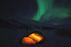 Aurora borealis (mortenklevis) Tags: winter wild camp mars snow game mountains green nature norway night outdoors hare nightshot wildlife north hunting tent arctic alta recreation wilderness scandinavia mystic scenics finnmark naturesfinest euroraborealis srya akkarfjord