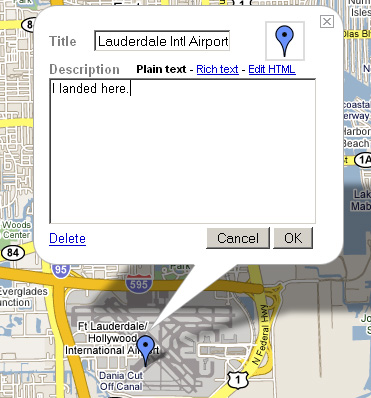 Google My Maps: Where I landed (Placemark)