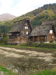 Gassho Homes-Shirakawa-go Village gable roof thatched 1mtr thick steeply pitched for heavy snowfall. no nails! Dates 200yrs+  North of Gujo Hashimann Town. - by catch it in seattle