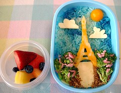 Tour Eiffel Snack Bento (Sakurako Kitsa) Tags: tower cheese lunch spring tour rice eiffel snack bento springtime obento