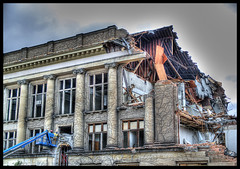 Frieze Destruction - HDR (jhoweaa) Tags: architecture michigan annarbor olympus demolition universityofmichigan friezebuilding zd 3xp 1454mm supershot interestingness45