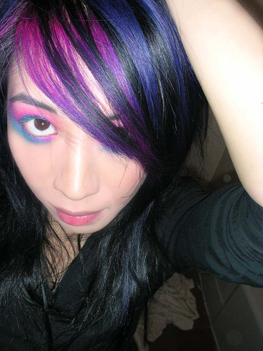 black hair with purple highlights blue+pink=purple hair · Untitled