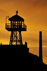 Guard Tower Silhouette (TravelnFotog) Tags: alcatraz therock prison guardtower sanfrancisco sf bayarea california nikon d70s explore