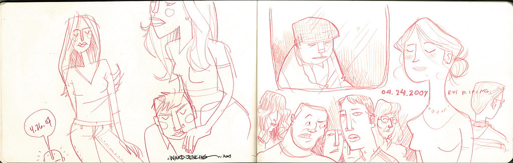 sketches: bus riding 3