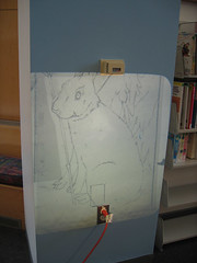 projecting on wall 070501 (chelmsfordpubliclibrary) Tags: usa bunny ma us mural library libraries room massachusetts projection childrens cpl chelmsford chelmsfordpubliclibrary childrensroom chelmsfordma chelmsfordlibrary yettifrenkel stevemaloney