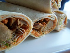 Seitan, hummus and alfafa wraps (Mitsooko) Tags: food vegan seitan tortilla