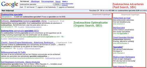 zoekmachine optimalisatie en zoekmachine adverteren