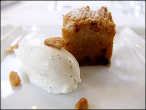 Jean Georges (New York) - Pine Nut / Rhubard Cake, Crispy Pine Nuts, Creme Fraiche Ice Cream