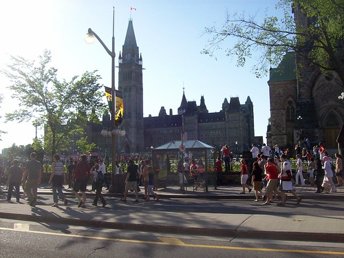 Ottawa Sens fans on Wellington Street...