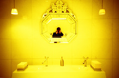 (Arnaud Tudoret) Tags: nyc selfportrait ny newyork film yellow lca lomography manhattan crossprocessing restroom 135 xprocessed e6 hudsonhotel xprocessing arnaudtudoret donkeysoho
