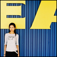 EA27. (brewskizzlr) Tags: blue portrait people film ikea yellow japan square geotagged gold kodak olympus 55mm portraiture om 27 kanagawa ea zuiko jesters kohoku f12 fumi  cheapfilm gold100 om2n  explore46 zuiko55mmf12 impressedbeauty brewskizzlr geo:lat=35522927 geo:lon=139590322 fumipeli