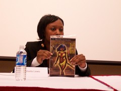 Rashida Lewis discussing the cover of her Sand Storm comic book