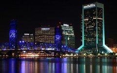 Jacksonville Lights Up (minds-eye) Tags: street city bridge st night river florida main jacksonville johns modis