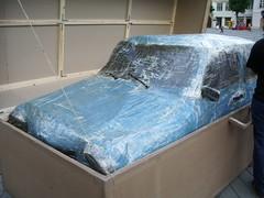 cardboard Trabant in cardboard box