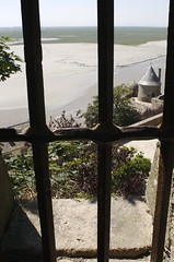 Mont St Michel, view through ramparts window