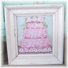 3 tier ornate cake Architrave frame original painting (Natasha Burns) Tags: pink original roses cake painting acrylic shabbychic