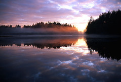 Mist on the Marsh 2 (justb) Tags: park sunset mist reflection colors misty port reflecting colorful bc coquitlam regional minnekhada supershot