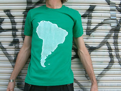 South America: White On Green (fill_design) Tags: door graffiti clothing stencil screenprint graphic sydney tshirt australia location note tape roller independant filldesign
