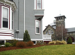 Time Capsule (AntyDiluvian) Tags: cold church wet rain architecture mainstreet suburban cloudy massachusetts lawn gingerbread belltower melrose suburb damp drizzle timecapsule 100years