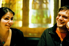 angie and joe (troutfactory) Tags: friends portrait film japan 50mm voigtlander drinking rangefinder osaka analogue izakaya raku ishibashi natura1600 bessat