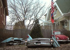 '69 Beetle and '59 Caddy in Milwaukee Yard, Cropped and Chopped