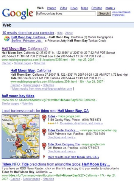 Google Local Search Results Midpage