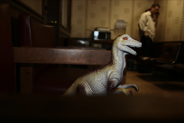 A Dinosaur Waits for H.o.p. in the Music Lesson Waiting Area