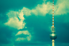 TV tower III (manganite) Tags: windows sky sunlight reflection berlin topf25 clouds digital buildings germany geotagged xpro nikon colorful europe tag2 tag1 cloudy tl towers dramatic atmosphere alexanderplatz lookatme d200 nikkor dslr mitte televisiontower tvtowers 10faves 18200mmf3556 utatafeature manganite nikonstunninggallery ipernity date:year=2007 geo:lat=52509691 geo:lon=13377442 tvtowerset date:month=april date:day=6 stadtgetty2010