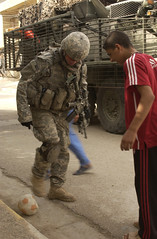 Playing Soccer in Iraq by Elisha Dawkins, US Army, May 3, 2007 (DOD 070403-A-3887D-139)
