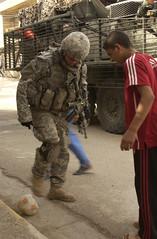 Playing Soccer in Iraq by Elisha Dawkins, US Army, May 3, 2007 (DOD 070403-A-3887D-139)